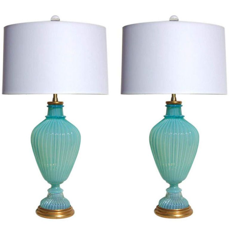 1stdibs | The Marbro Lamp Company   Vintage Murano Glass Lamps In Tiffany  Blue