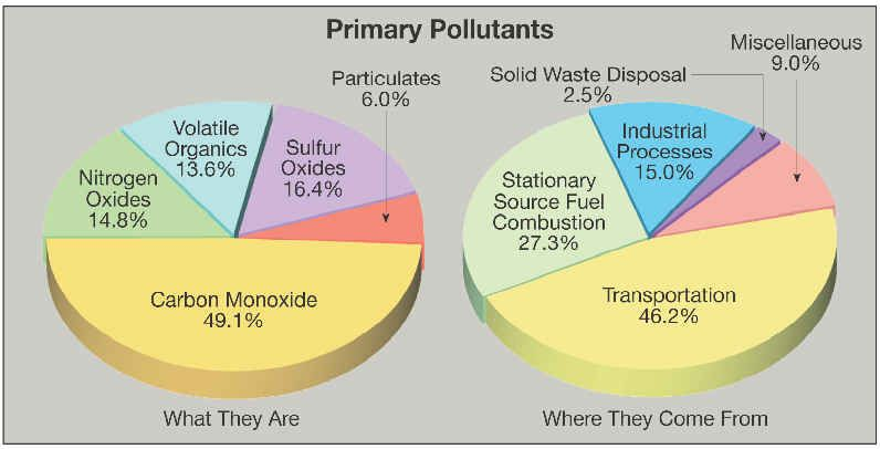 Pie Charts Explaining What The Primary Pollutants Are Pollution