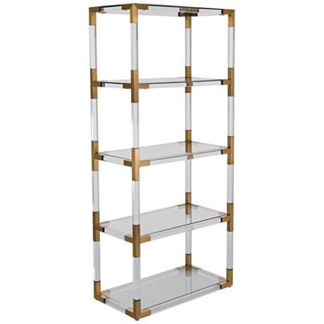Hayley 4 Shelf Clear Acrylic Open Bronze Brass Bookcase 8v183