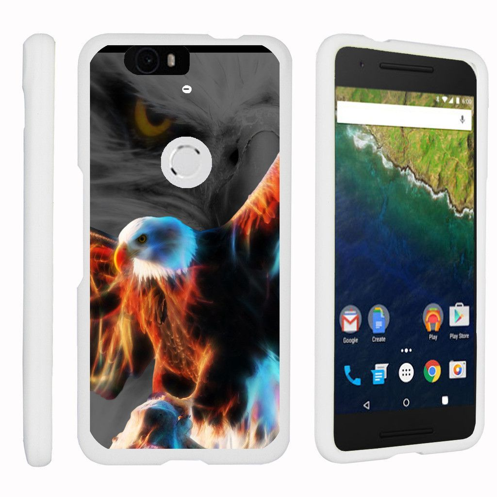 Nexus 6P Case SNAP SHELL 2 Piece Fitted Rubberized Hard Cover - Blazing Eagle