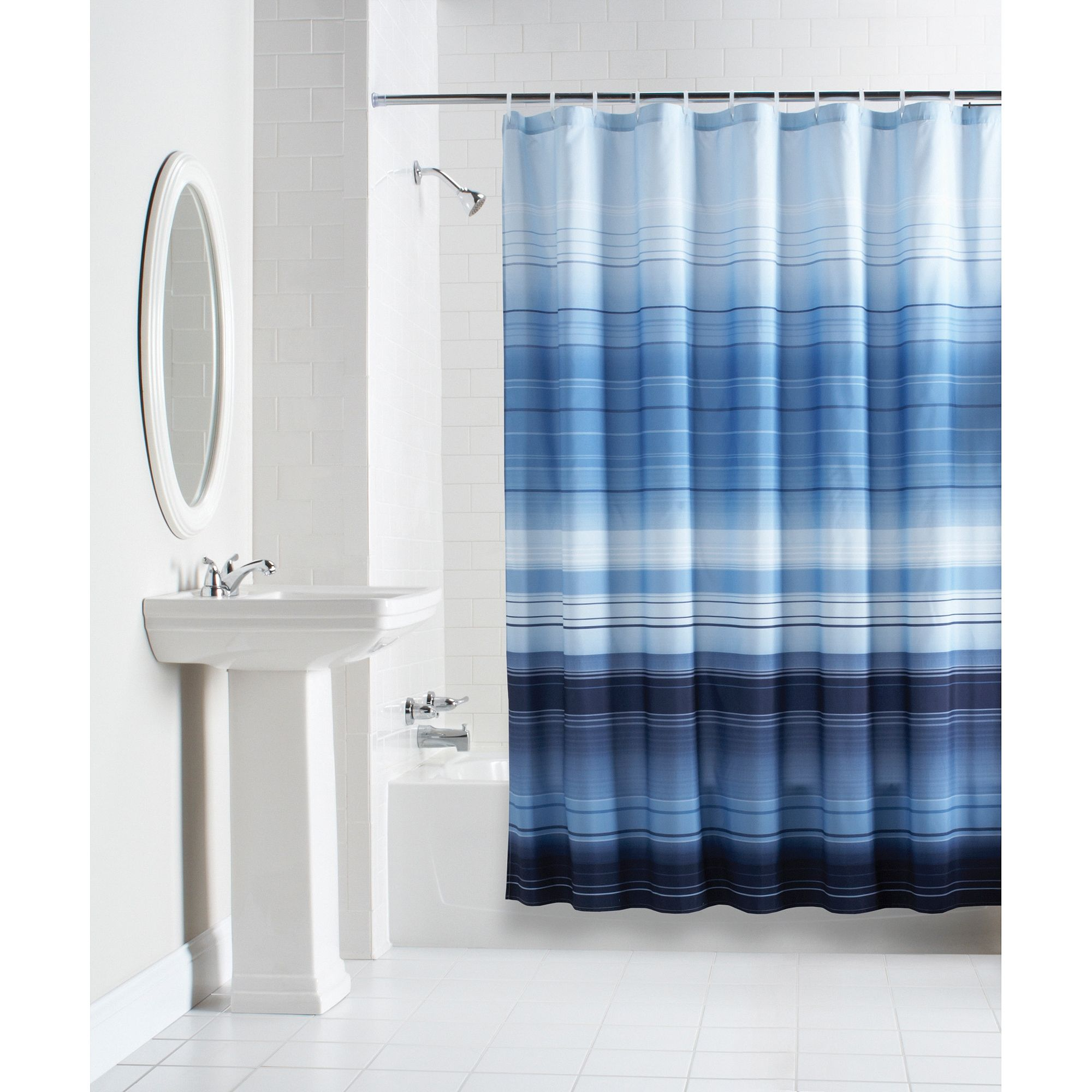 Mainstays Ombre Stripe Fabric Shower Curtain Walmart Throughout Measurements 2000 X