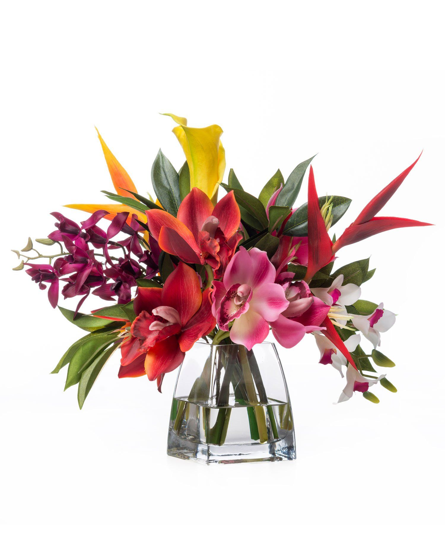 Faux orchids heliconia tropical flower arrangement