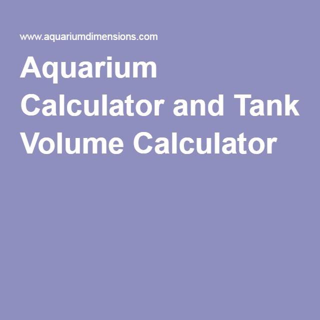 Aquarium Calculator and Tank Volume Calculator | Aquarium