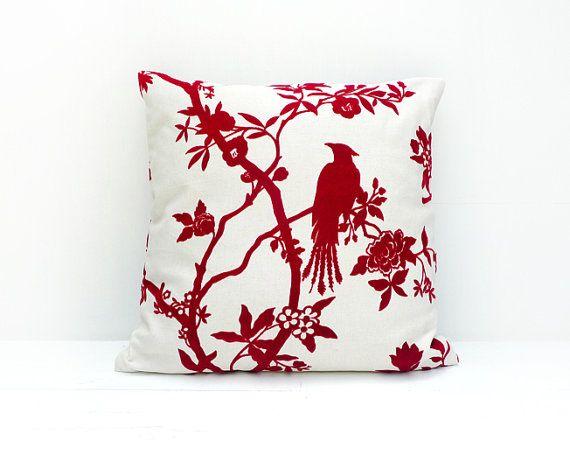 Decorative Throw Pillow Bird Pillow Cream And Red By ALUMAhandmade Classy Decorative Throw Pillows With Birds