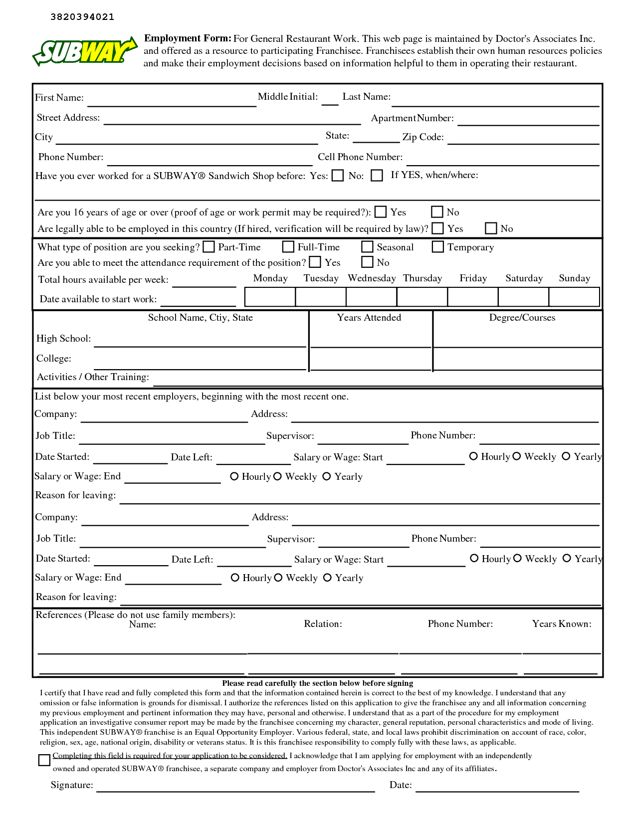 Printable Subway Job Application Form