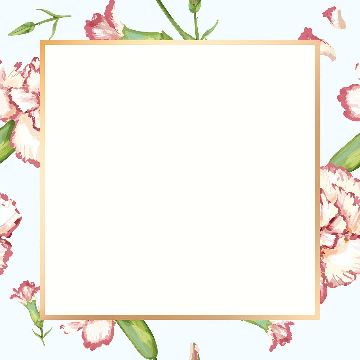Gold Square Carnation Flower Frame Design Resource Free Image By Rawpixel Com Paeng In 2020 Flower Frame Carnation Flower Frame Design