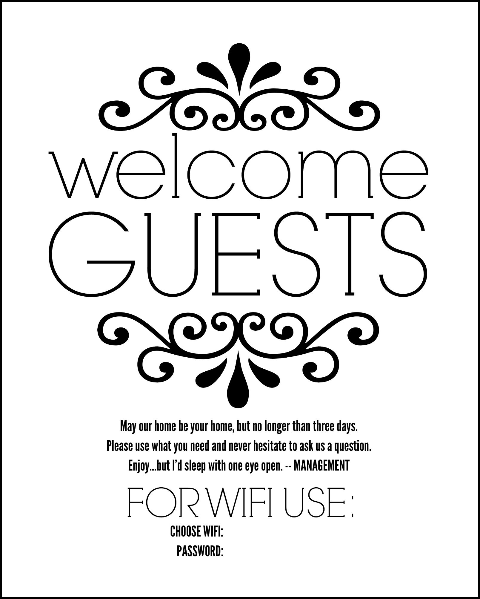 Diy Guest Room Basket With Free Printable Sign