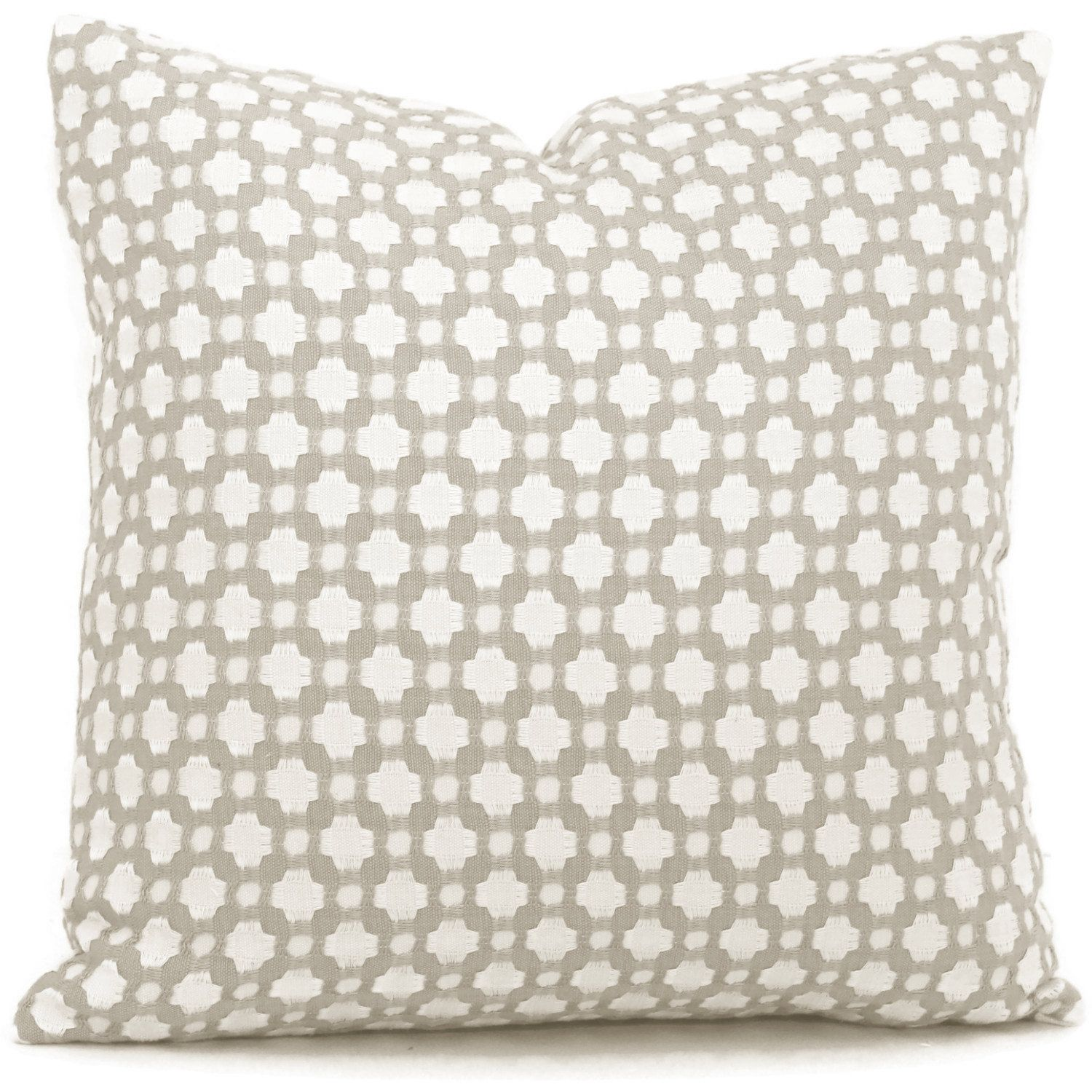 Schumacher Betwixt in Stone and White Decorative Pillow Cover