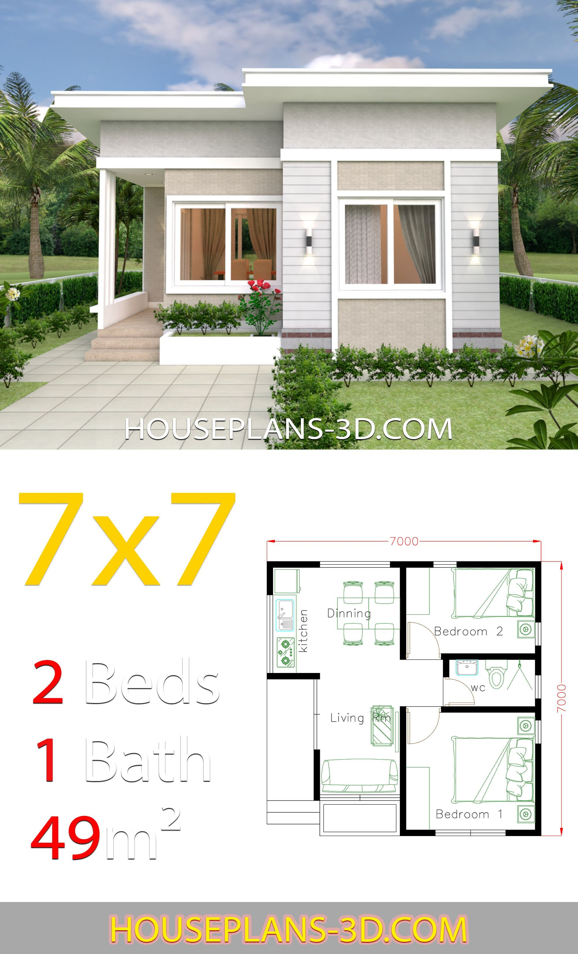 Small House Design 7x7 With 2 Bedrooms House Plans 3d In 2020 Small House Design Plans Small House Design Simple House Design