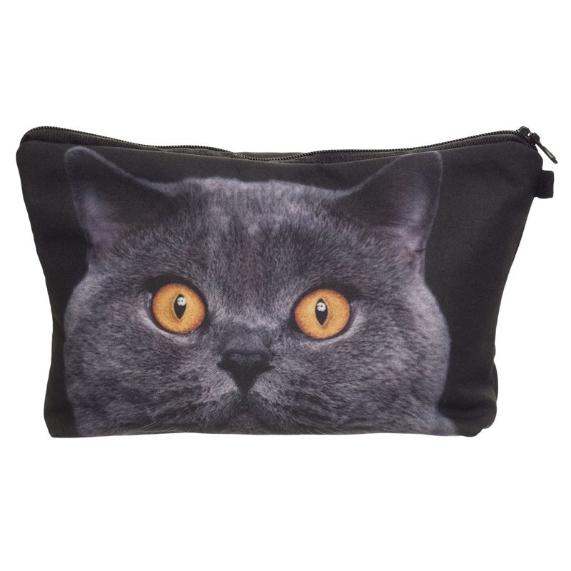 Vrouwen neceser draagbare maken tas case 3d printing britse blue cat organizer bolsa feminina travel toilettas cosmetische tas