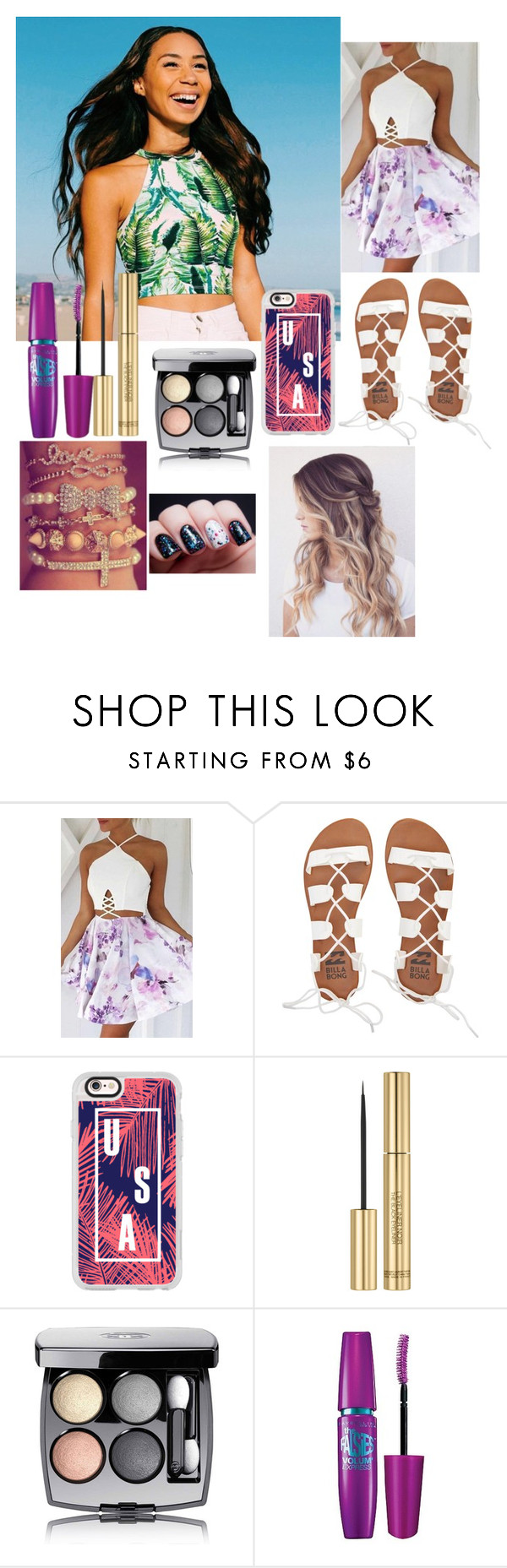 """""""On The Beach w/ Eva."""" by geazybxtch24 ❤ liked on Polyvore featuring beauty, Billabong, Casetify, Yves Saint Laurent, Chanel and Maybelline"""