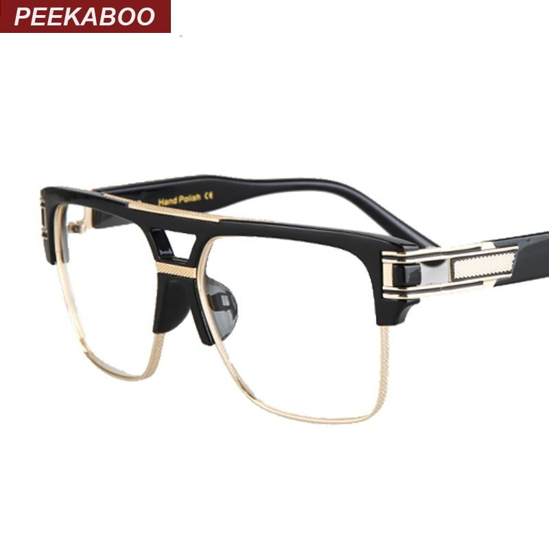 Peekaboo Half frame eyeglasses frames men square optical gold black ...