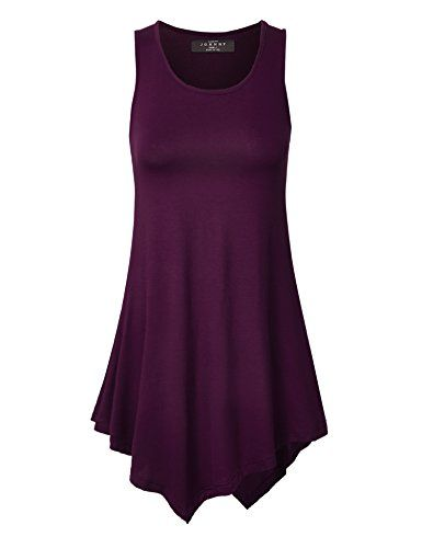 5402d21e3ce Womens Sleeveless Comfy Tunic Tank Top with Various Hem - Made in USA. A  rayon tunic featuring a hankerchief like hem. Fit and flare fit. Sleeveless.