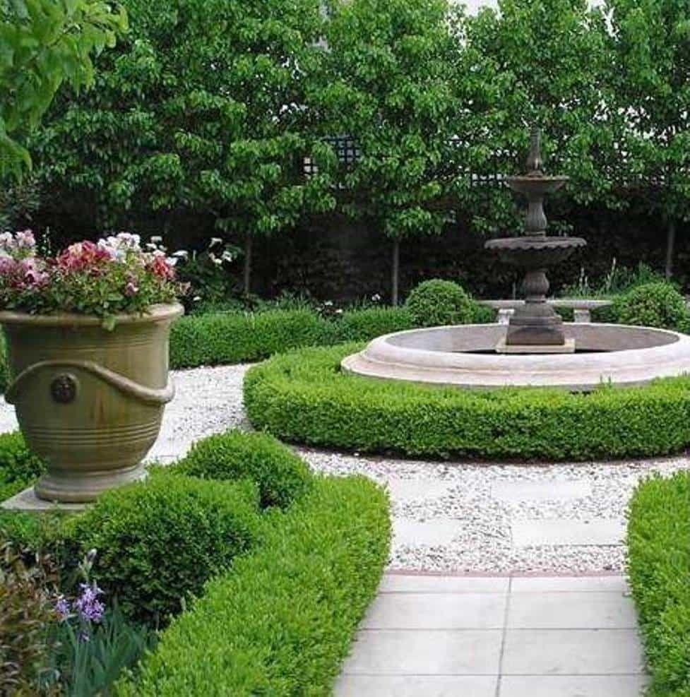 Formal Garden Ideas With Fountain Garden And Lawn Elegant