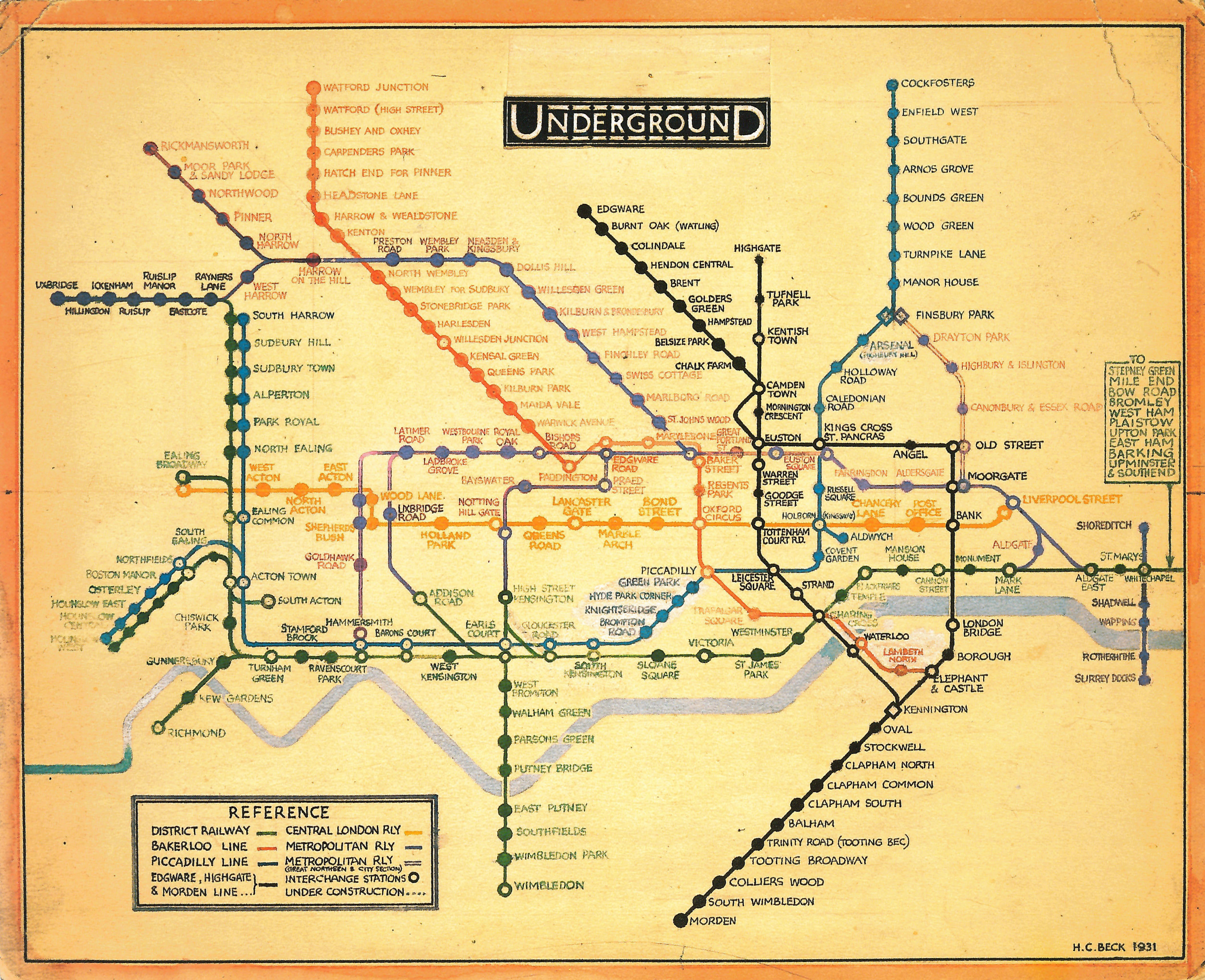 1931 Book  London Underground Maps  Presentation Drawing