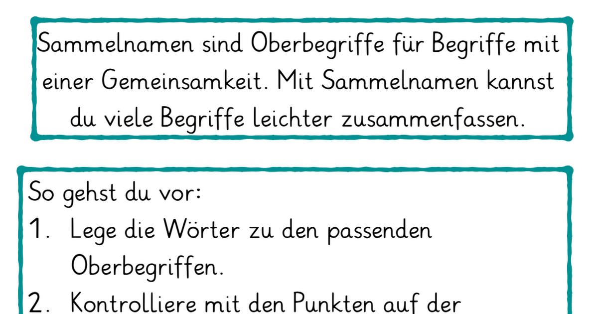 Sammelnamen : Oberbegriffe.pdf | Nomen | Pinterest
