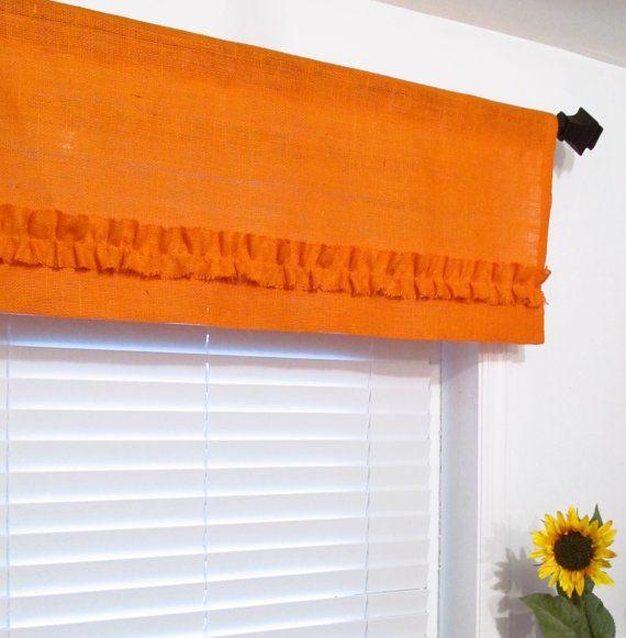 BURLAP Ruffled Valance Orange Rustic Curtain by supplierofdreams, $42.00