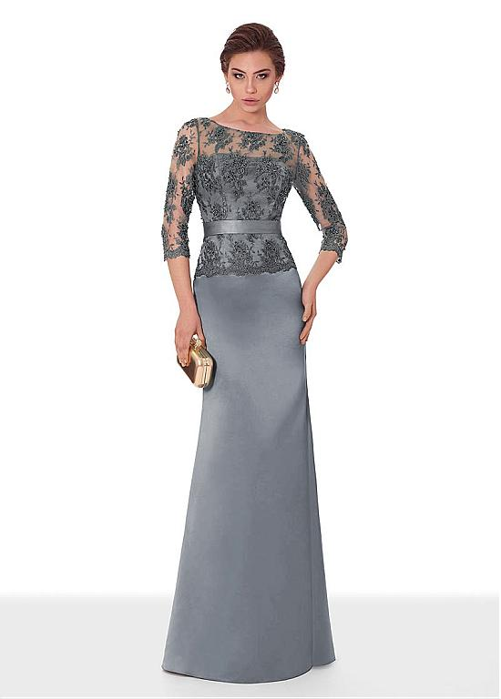 [114.79] Classic Satin Scoop Neckline 3/4 Length Sleeves Sheath/Column Evening Dress With Beaded Lace Appliques & Sash