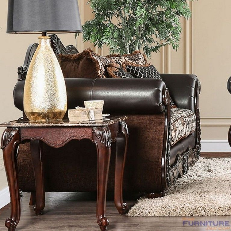 good quality living room furniture%0A Furniture of America  Jamael Loveseat in Brown  SM    LV