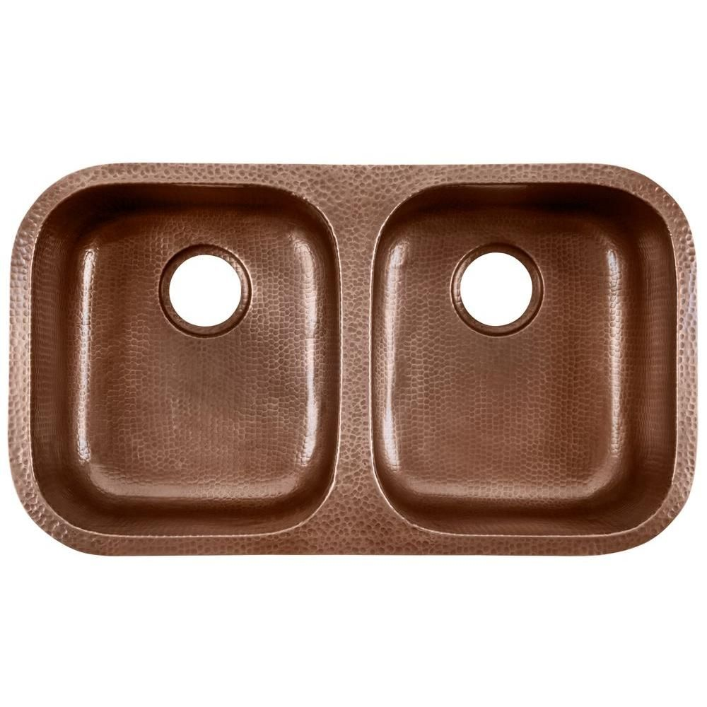 Glacier Bay Undermount Pure Solid Copper Sink 18.5 In. Double Bowl 50/50  Kitchen Sink In Hammered Antique Copper
