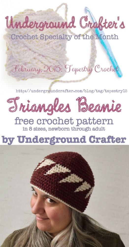 Tapestry Crochet Pattern: Triangles Beanie | Tapestry things ...