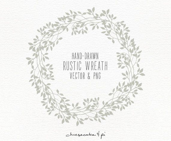 Floral Wreath Hand Drawn By LisaGlanzGraphics