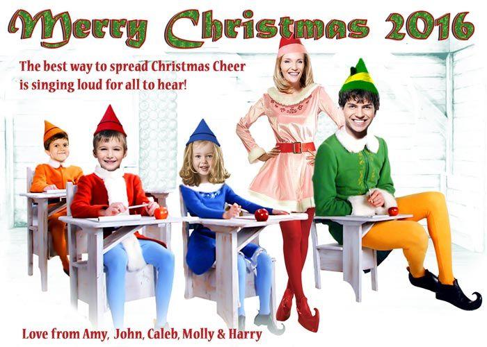 Buddy The Elf Christmas Card Family Christmas Card Elf Movie Spoof Christmas Family Christmas Cards Funny Family Christmas Cards Corporate Christmas Cards