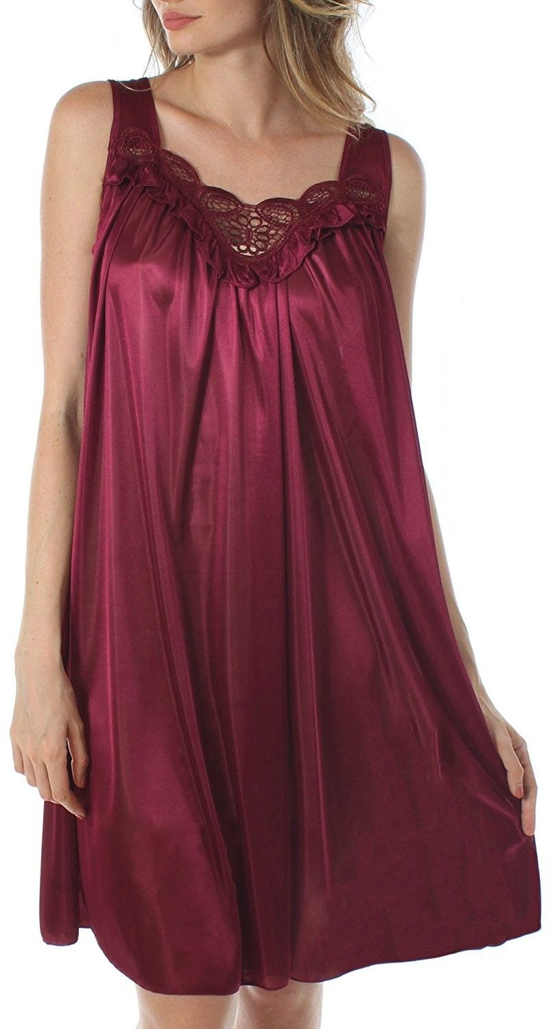 Venice Womens Silky Looking Embroidered Nightgown 06n Wine Ct12n1hbuah Night Gown Women Clothes Sale Fashion Clothes Women
