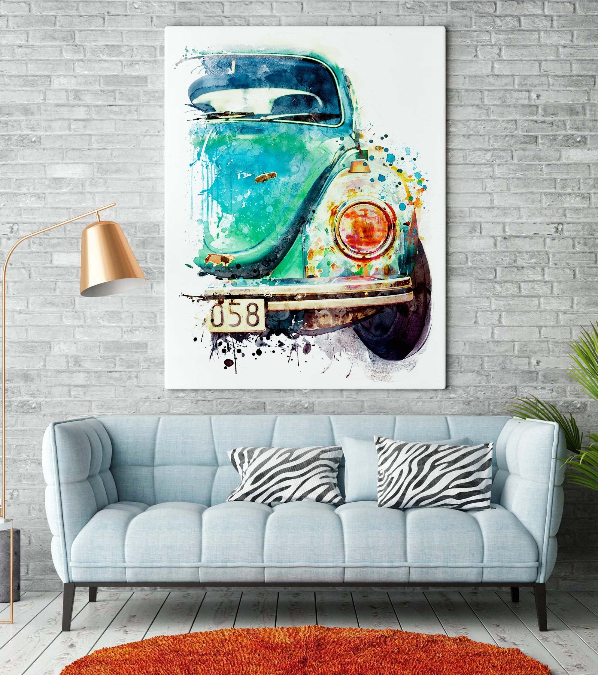 German Vintage Car, Watercolor Painting, Automobile poster, Affordable Car Decor, Blue, Turquoise, Classic Car Art, Gift for Car Lovers