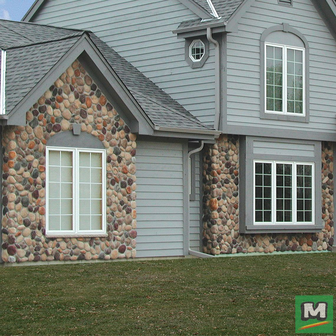Add A Rock Accent To Your Home S Exterior With Cast Natural Stone Northwoods River Rock Features Liv House Exterior Exterior House Colors House Paint Exterior