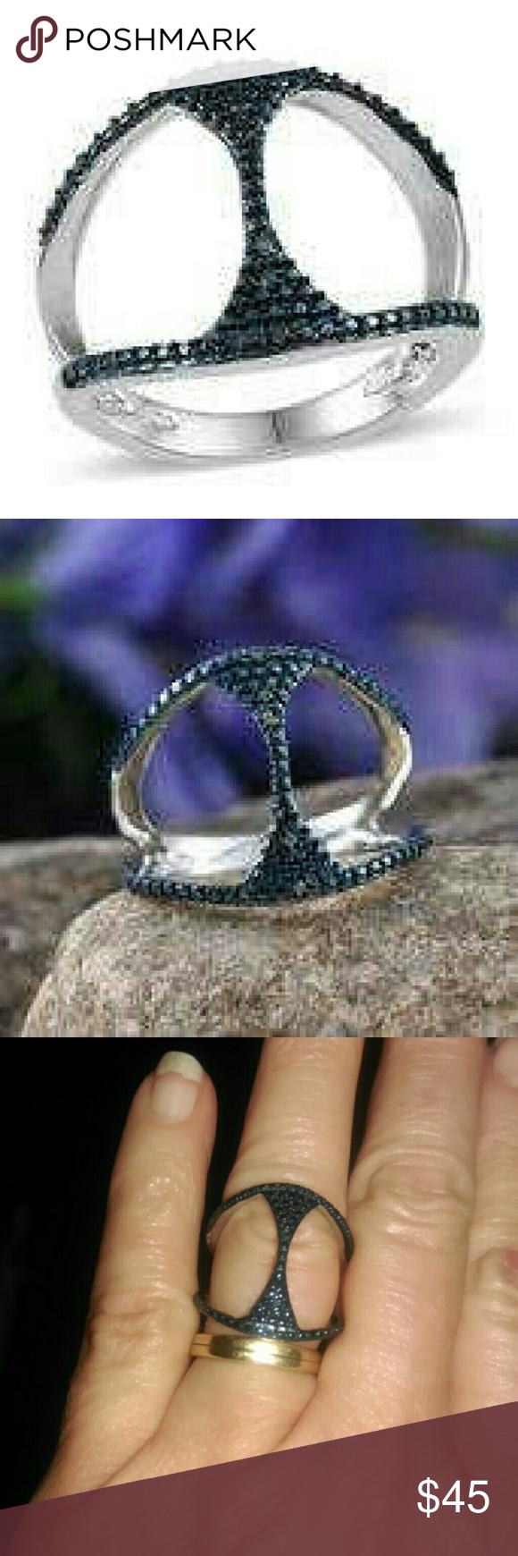 GENUINE BLUE DIAMOND RING-925-STERLING SILVER GENUINE BLUE DIAMOND RING SET IN PURE 925-STERLING SILVER/NICKEL FREE Jewelry Rings