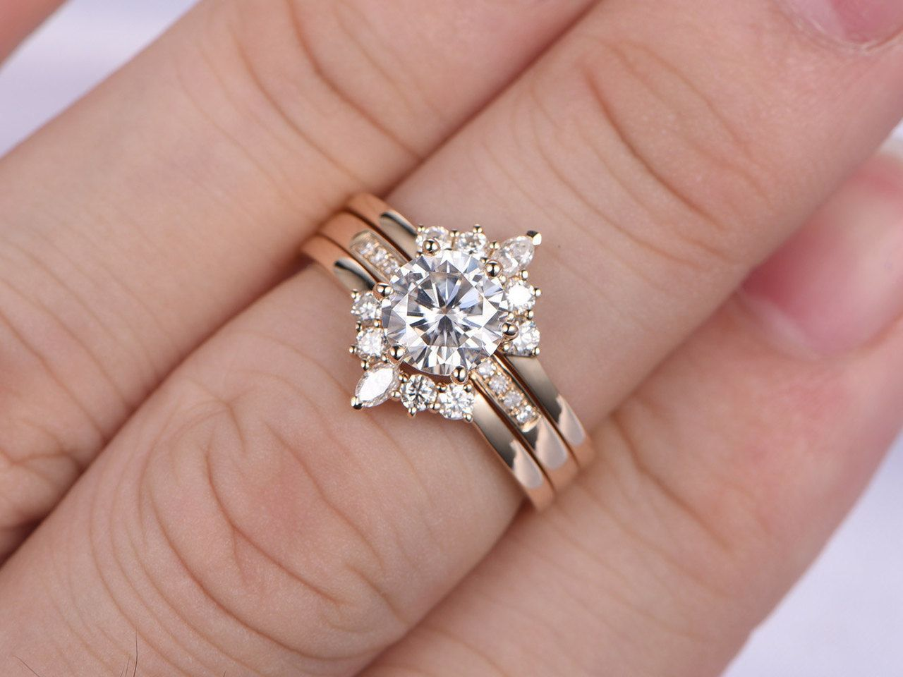 3pcs Moissanite Engagement ring set,6.5mm Round Moissanite Ring,2pcs ...