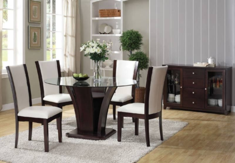 Acme Furniture  Malik 6 Piece Round Dining Table Set In Espresso Pleasing Espresso Dining Room Table Sets Decorating Inspiration