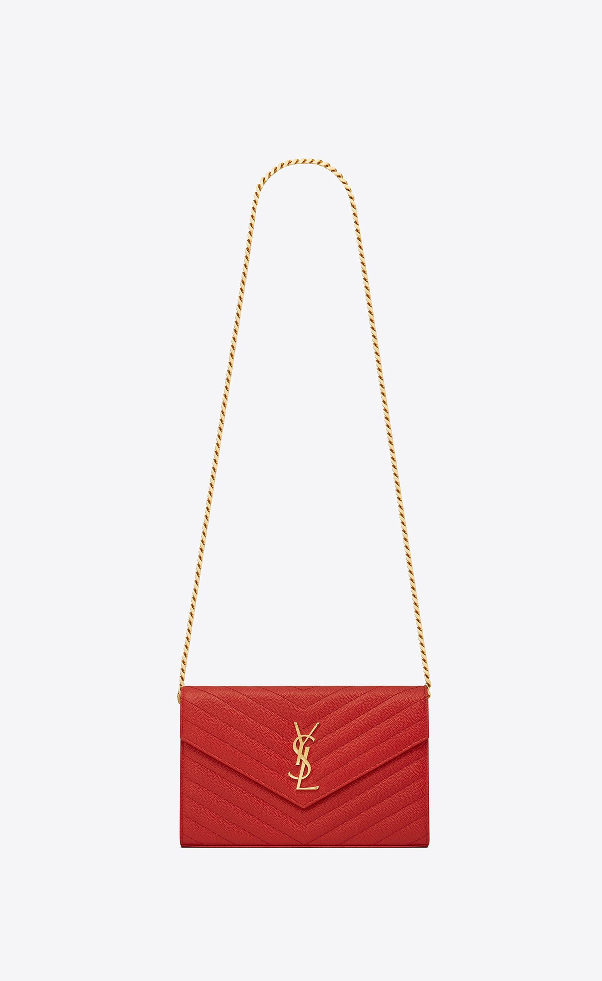 Saint Laurent Monogram Chain Wallet In Lipstick Red Textured Matelassé  Leather   YSL.com d0bdb68cac