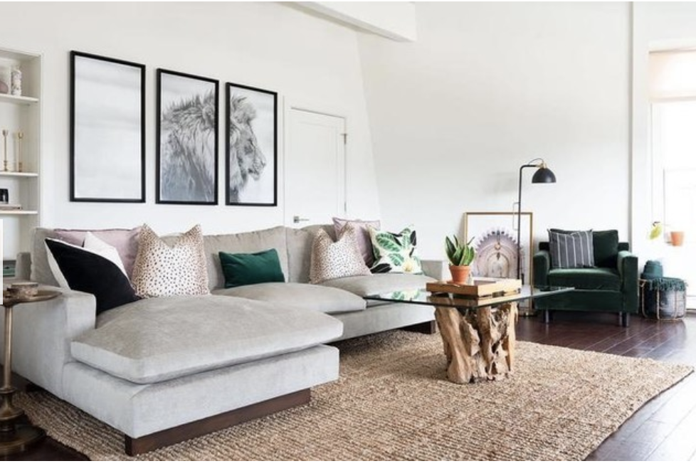 Grey Sofa With Attached Chaise / Triptych, Sisal Rug, Eclectic Contemporary  Style.