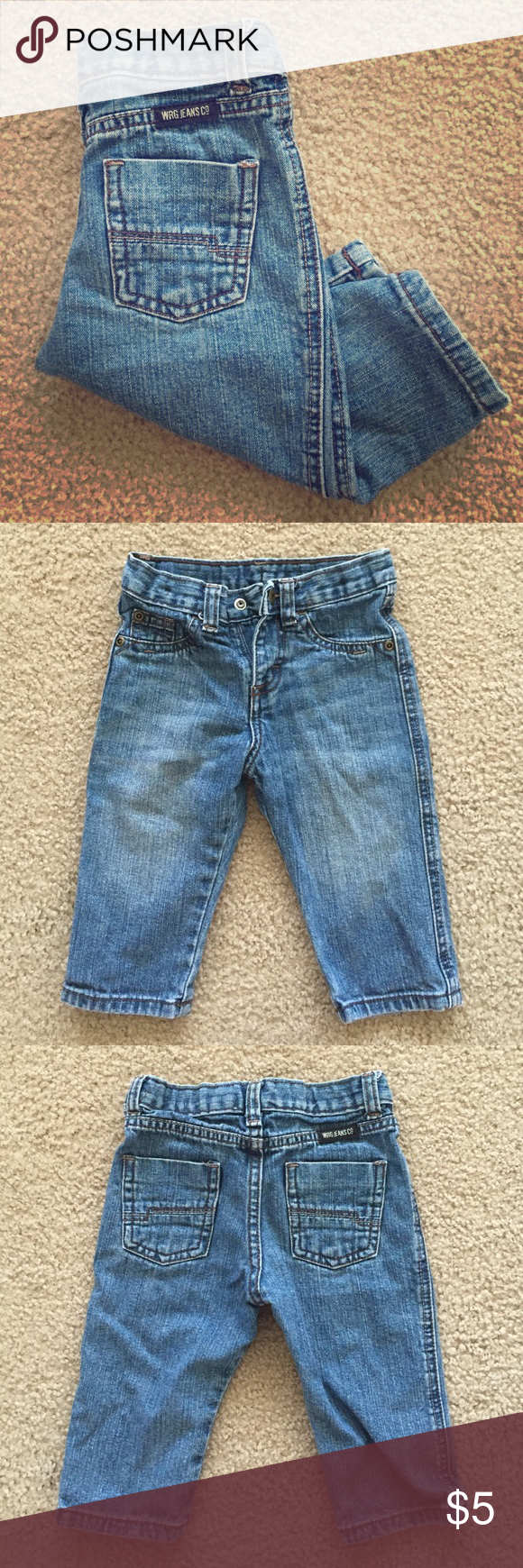 "🔥New Listing🔥 Baby Wranglers Great condition!!! Adorable toddler baby wrangler jeans. 9"" inseam. Has the adjustable hidden waistband, but the elastic pulled back inside the waistband Wrangler Bottoms Jeans"