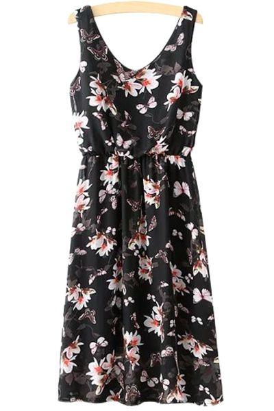 Butterfly Floral Print Sleeveless Dress