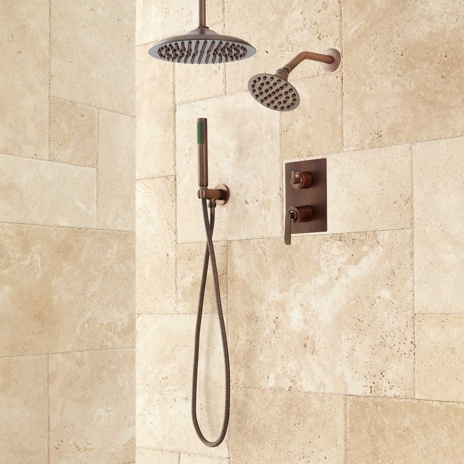 Trimble Dual Shower Head Shower System with Hand Shower | Dual ...