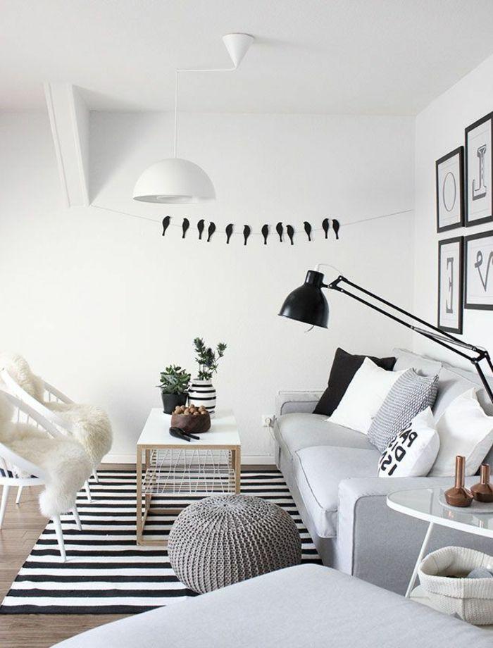 unkonventionelles Wohnzimmer in schwarz und weiß * Interiors - wohnzimmer design schwarz