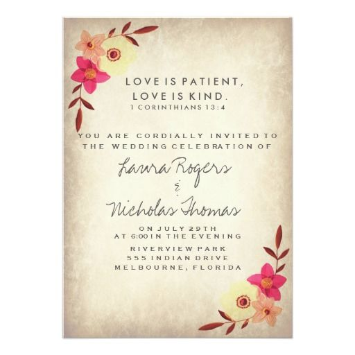 Christian Wording For Wedding Invitations: Christian Bible Verse Rustic Country Floral Invitation