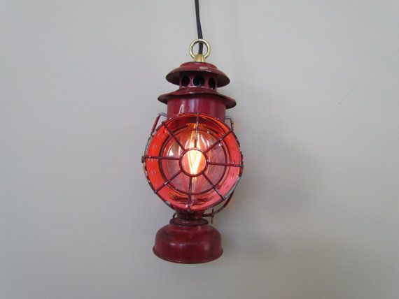 Vintage upcycled Red Lantern Hanging Lamp by PluginART on Etsy, $45.00