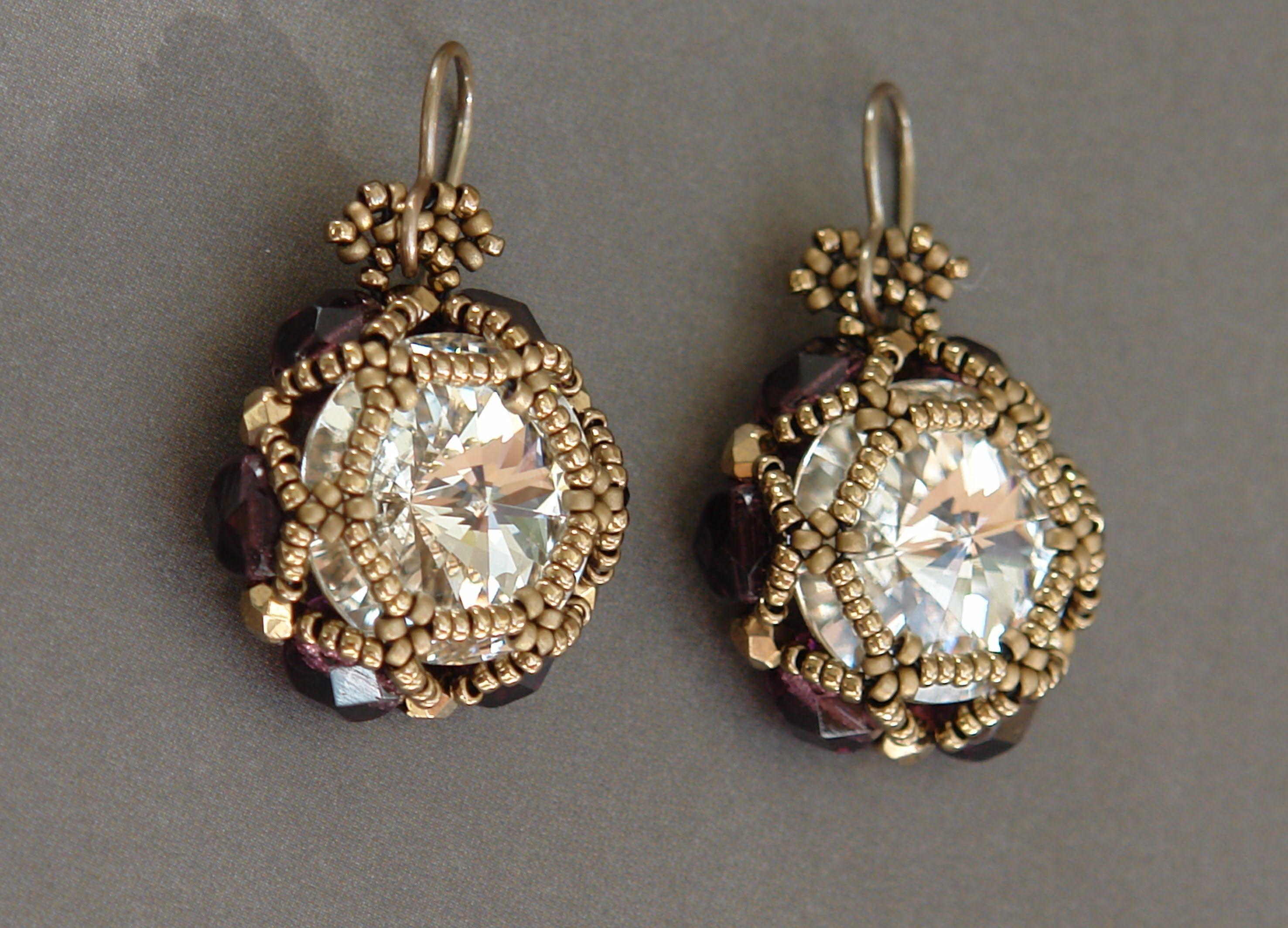Sidonia's handmade jewelry - Beaded earrings - 16mm Rivoli, 6mm fire pol...
