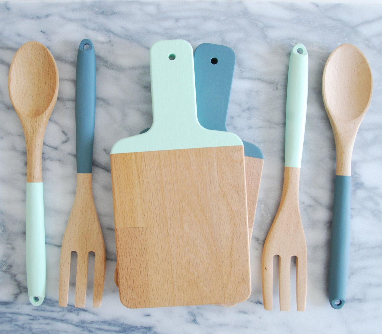 Mix and match cutting board and kitchen utensil set wood salad
