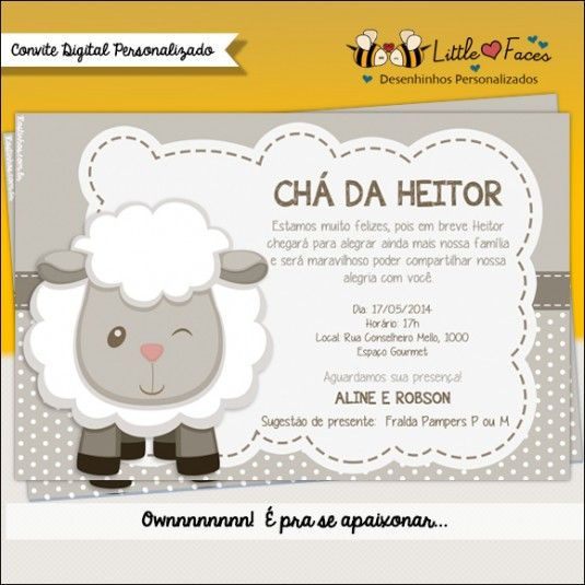 Convite Ovelhinha Menino Digital Etiquetas Pinterest