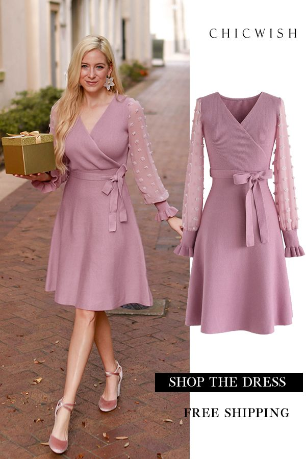 26b417f2634de0 Up to 30% Off. There You Go Wrap Knit Dress in Pink featured by rechaelroe  Winter holiday Outfit Ideas. We…