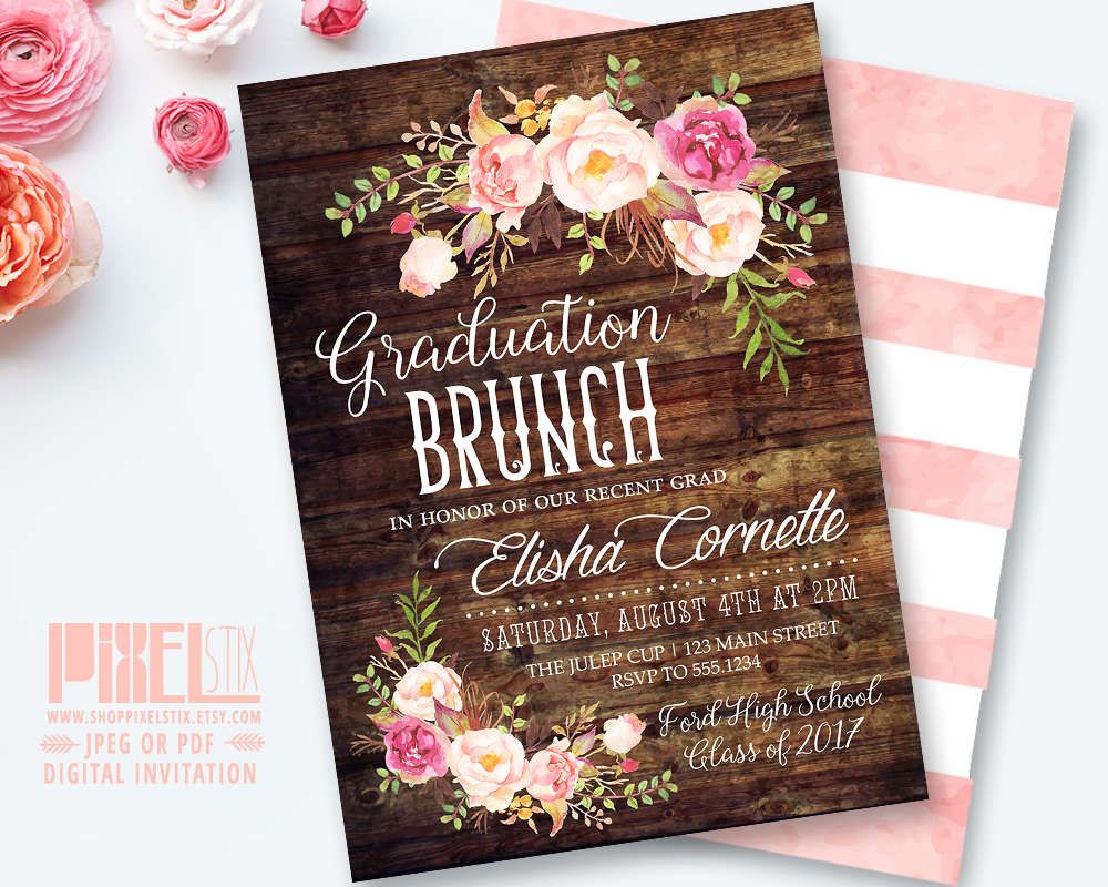 Rustic graduation brunch invitation boho floral graduation invite rustic graduation brunch invitation boho floral graduation invite grad party floral luncheon invitation high school graduation announcement by filmwisefo
