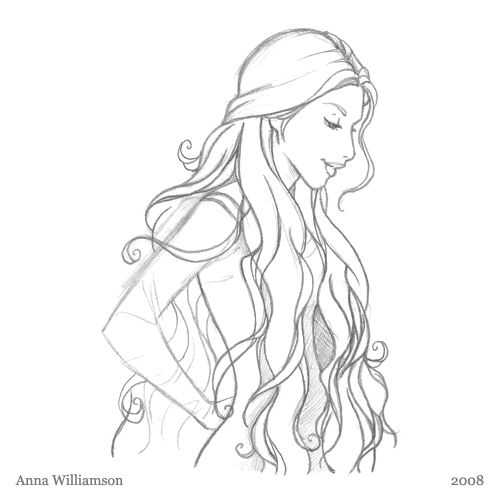 Line Drawing Hair : How to draw a fairy princess
