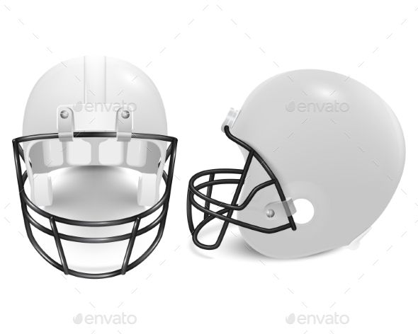 Two Vector Football Helmets Front And Side View Football Helmets Helmet Football