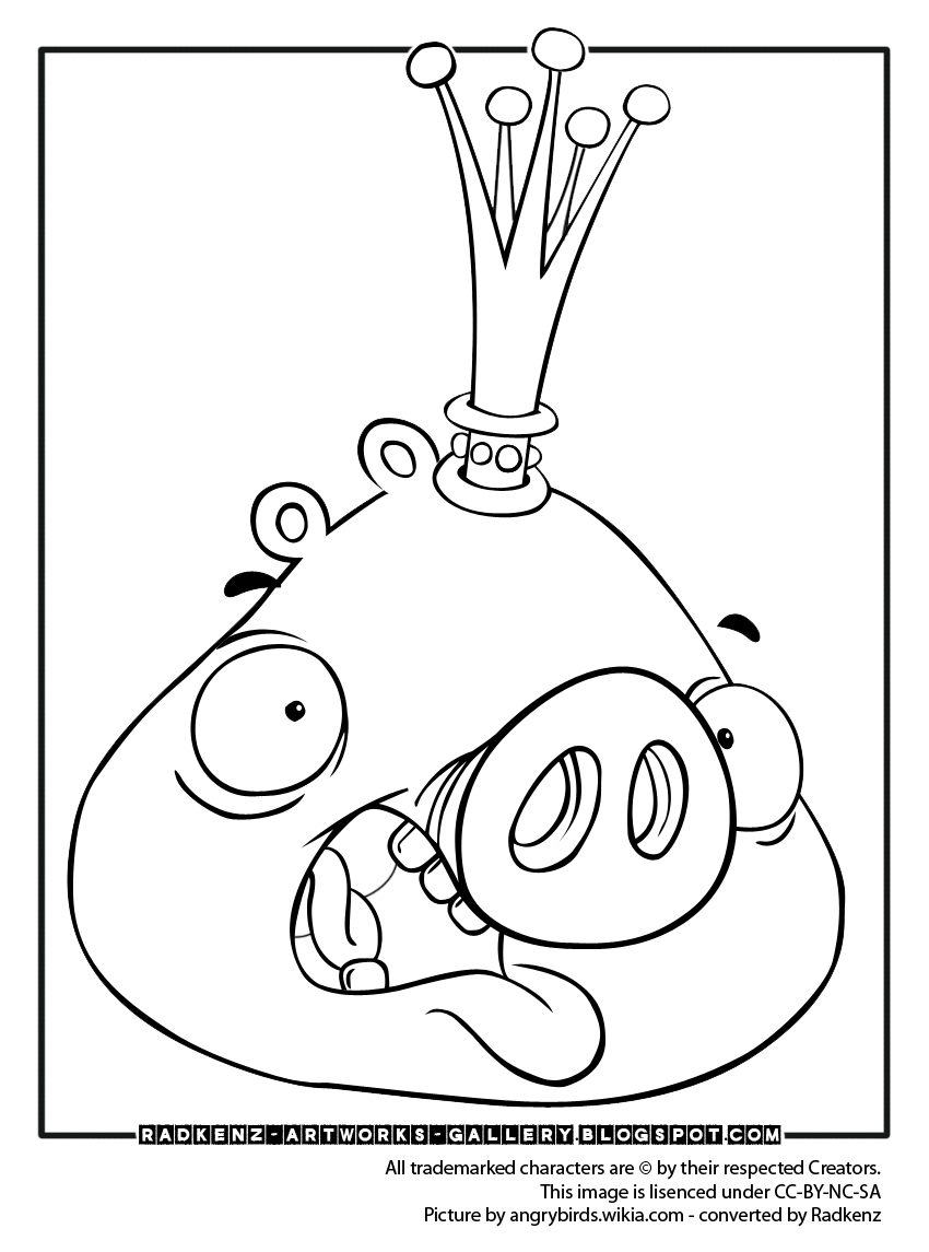 Radkenz Artworks Gallery Angry Birds Coloring Page King Pig Bird Coloring Pages Angry Birds Pigs Coloring Pages