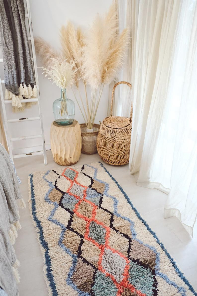 Moroccan Runner Sky Blue Coral Moroccan Azilal Runner Rug Etsy In 2020 Rug Runner Runner Rug Entryway Azilal